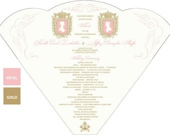 SET OF 25+ Vintage Royal Silhouette Design Wedding Program Fan custom colors available