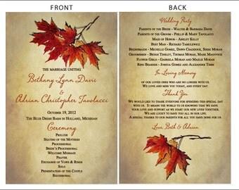 SET OF Vintage Autumn Leaves Wedding Programs - custom colors available - 1.00 each