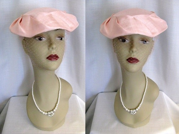 Vintage 1950s Pink Hat w/ Veil from Daytons