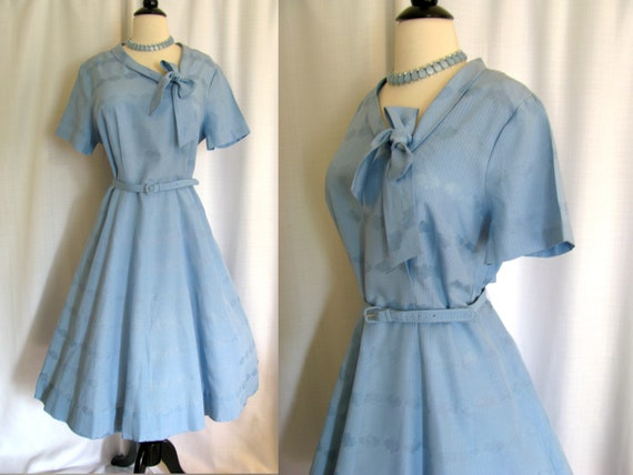Vintage 1950s Dress - Irma Hill Blue Rayon and Cotton