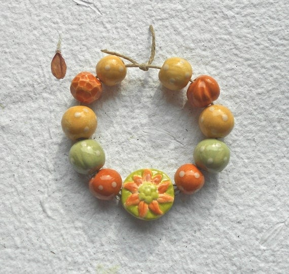 RESERVED FOR ANN.....Handmade Ceramic Autumn Bead Set with Sunflower Connector