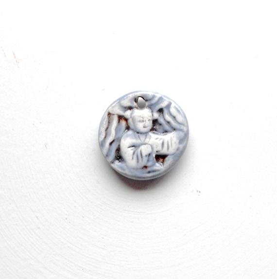 Handmade Ceramic Blue Buddha Charm