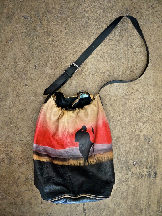 Painted African Hunter Sunset Leather Bucket Bag