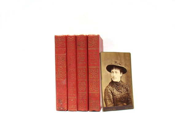 Little Red Book Set - Vintage Library Home Decor - Antique