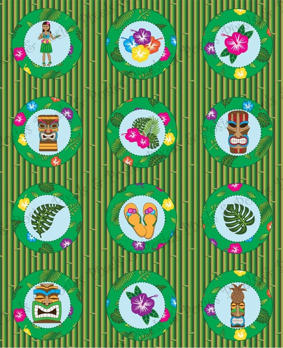 Cupcake Toppers / Gift or Favor Tags, Square or Round - Print Your Own Hawaiian Luau Party