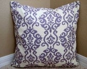 Set of 2 18x18 Modern Lavender Damask Pillow Covers