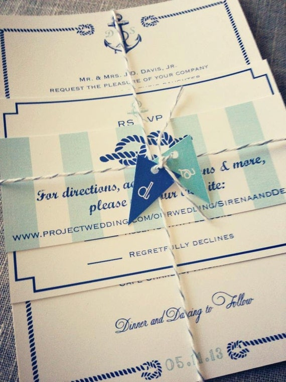 items similar to nautical wedding invitation suite with With nautical flag wedding invitations