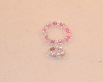 Barbie Pink & Blue Core Crystal Beaded Choker and Bracelet - Handmade