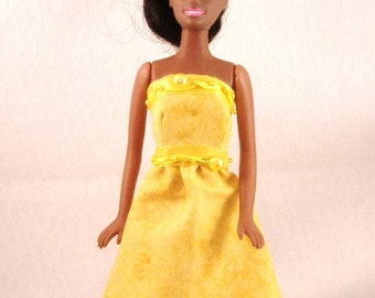 Fancy Handmade Barbie Strapless Short Skirt Dress & Hair Bow - Yellow with Pearl, Ribbon Trim