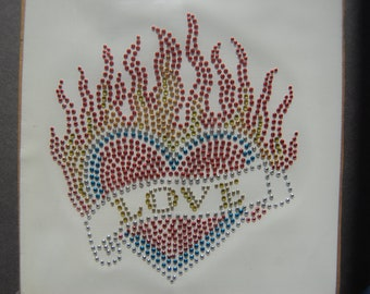 Burning Love Nailhead Heart Transfer