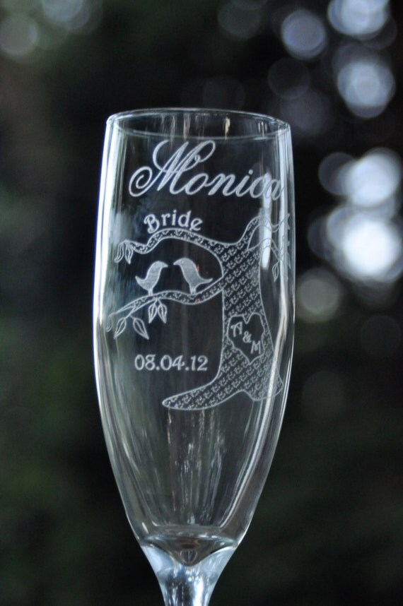 Bride and Groom Table Setting Champagne Glasses Love Birds in a Tree