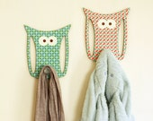 Set of 2 Owl Hanging Hooks -  Nursery Wall  Decorative Hanger Children Room Home Décor