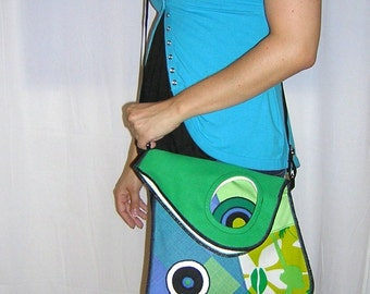 Medium Cross Body Canvas Bag Asymmetrical Sling Bag cute haversack mixed fabrics in Green Lime Blue White  with Circles