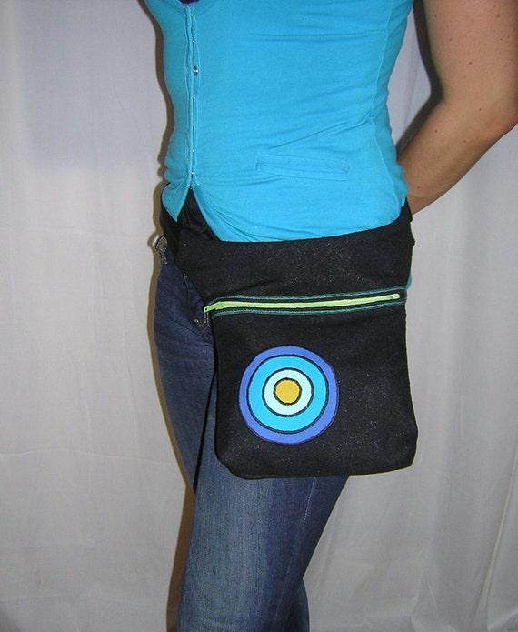 CANVAS HIP BAG  - Festival Pocket Belt-  Black  with colorful circles