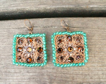Copper wire,vintage inspired,historical style earrings,glass beads,beaded,Swarovski,handmade,turquoise,brown,art deco,old style,square