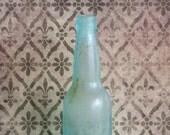 Vintage Aquamarine Glass Bottle Antique Blue Green Beer