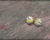 Gray white yellow stripe print Fabric covered button earrings