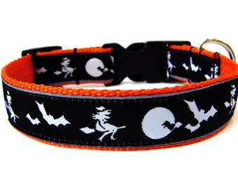 "Halloween Dog Collar 1"" Witches and Bats Dog Collar SIZE LARGE Ready to Ship Dog Collar"