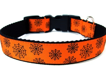 "Halloween Dog Collar 1"" Spider Web Dog Collar"