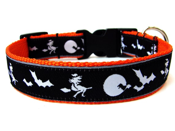 "Halloween Dog Collar 1"" Witches and Bats Dog Collar SIZE LARGE"