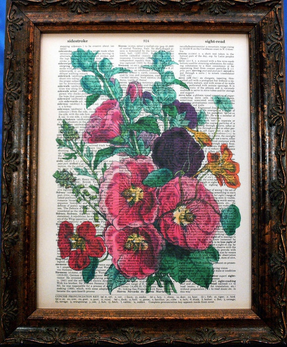Hollyhocks Flower Art Print on Vintage Dictionary Book Page