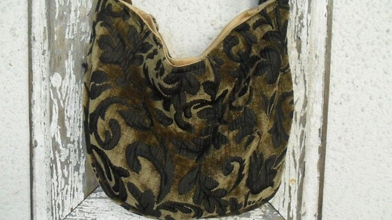Bohemian Gypsy Bag Purse Slouchy Brown Chenille