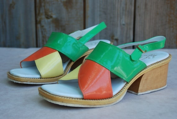 Reserved for Brian: 1960's color block wooden heel slingbacks, Womens US size 9 - 9 1/2.
