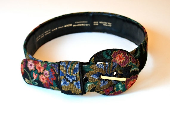 Women's floral belt, needlepoint or tapestry textile by Liz Claiborne