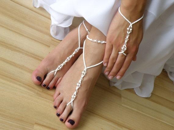 Wedding - Barefoot Sandals - Anklets - Arm Slave Bracelets in White / Set of 4