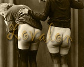 MATURE... Black Stocking Club... Deluxe Erotic Art Print... Vintage Nude Photo... Available In Various Sizes