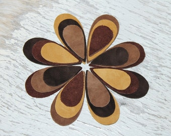 24pcs  Shades of Brown Suede Leather Teardrops Die Cuts