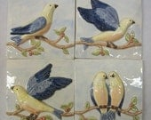 Birds on a Vine Handpainted Ceramic Tiles  -- Set of 4 -- Blues Version -- MADE TO ORDER