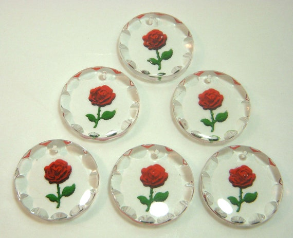 West German Glass Pendants, Reverse-Painted Red Rose, Crystal, Six Pc, Item0108