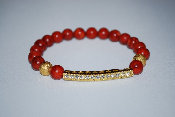 Red Sponge Coral Bracelet with Rhinestone Bar