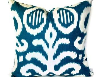 Duralee Fergana Aqua Ikat Decorative Pillow Cover, Throw Pillow,  Accent Pillow, 18x18, 20x20, 12x20,