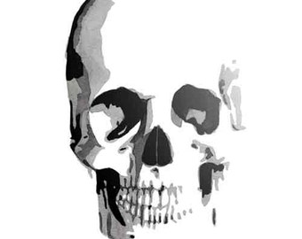 16 x 20 Skull Watercolor Giclee Print