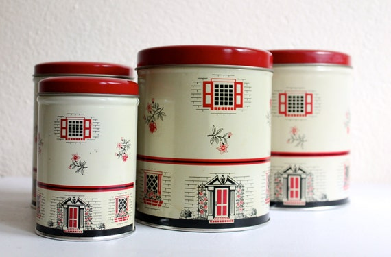 vintage metal kitchen canisters vintage metal kitchen canister set by bluerememberedhills 22596