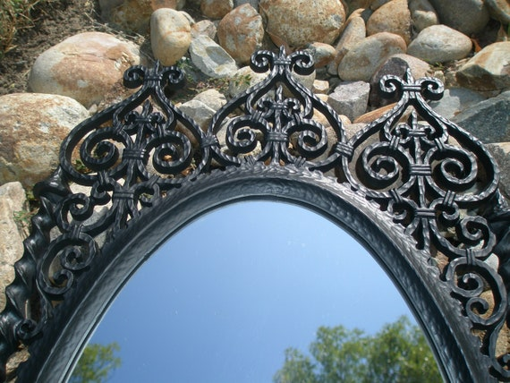HOLLYWOOD REGENCY Moorish Mirror - Matte Black - Upcycled