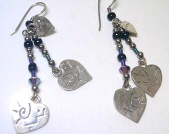 Vintage Silver Pierced Heart Dangle Earrings
