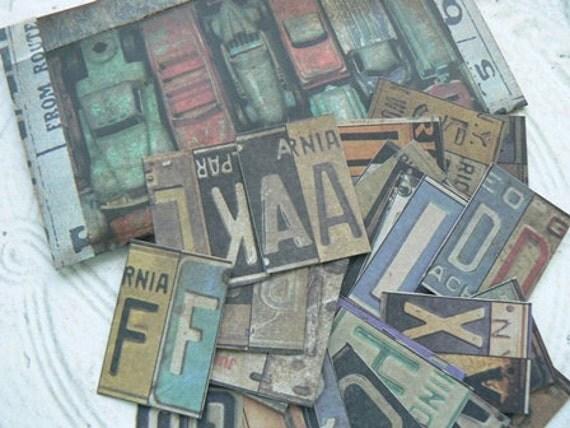 35 Antique Design License Plate Alphabet Embellishments