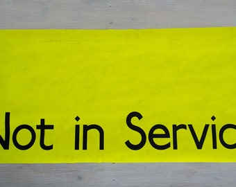 vintage yellow bus destination blind, not in service
