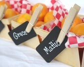 12CLotheS PiN and BLacK PaPer Tag Combo--12 ct--black paper chalkboard look tags-wooden 3 inch clothes pins-party favors, gifts,