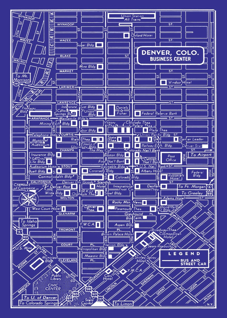 Denver map original artwork denver map art wall art qwika denver 1949 vintage map of downtown denver blueprint map print poster malvernweather