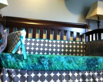 READY TO SHIP Custom Crib Bedding for a Boy or a Girl Gray and Teal