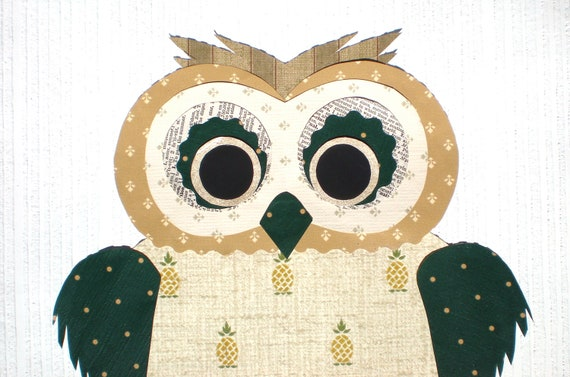 Vintage Wallpaper Owls / Original Mixed Media / Wall Art / 11x14 Ready to Frame