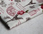 Love in Paris Cotton Linen Fabric  Half Yard