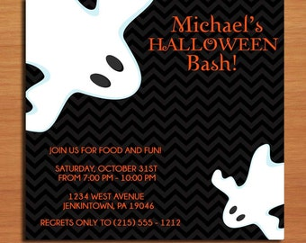 Ghostly Halloween Party Customized Printable Invitations /  DIY