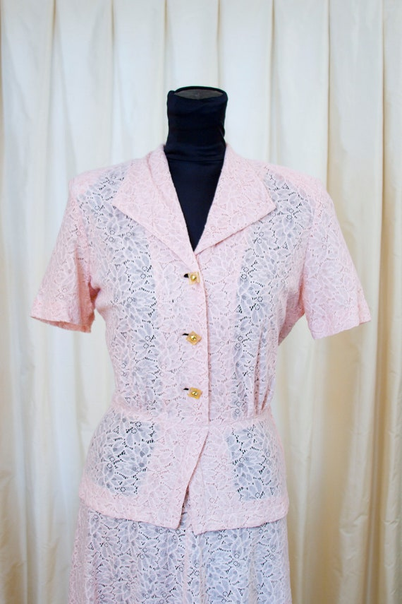 1940's Pink Lace Dress with Faux Peplum