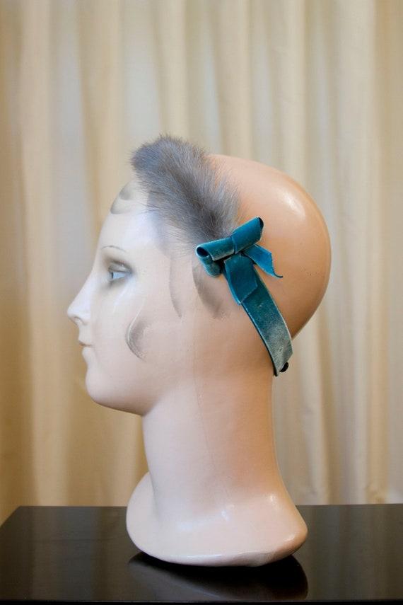 1950's 60's Grey Mink Fur Headband Fascinator with Turquoise Velvet Ribbon