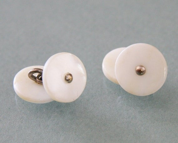 Antique Mother of Pearl Cufflinks -:- Double Faced, 1930s